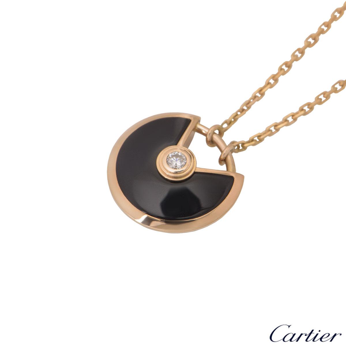 Cartier Rose Gold Diamond & Onyx Amulette De Cartier Pendant